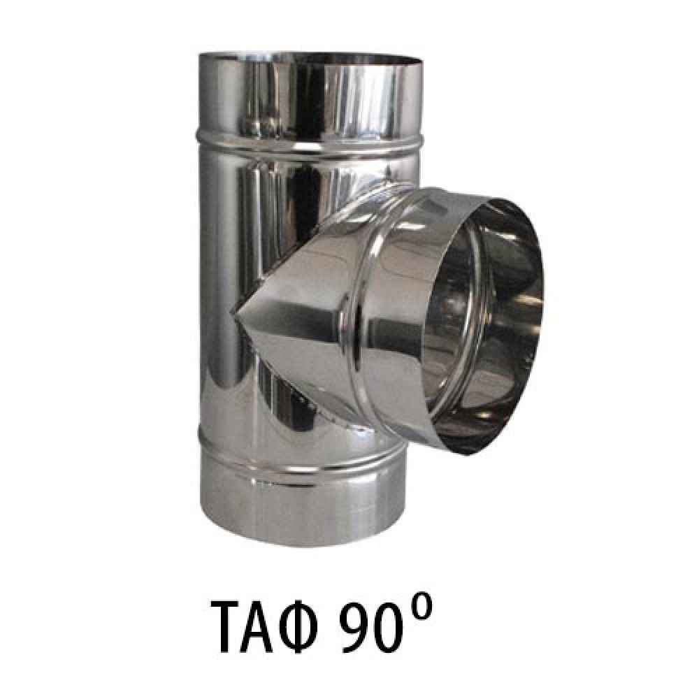 Single wall stainless steel TAF - Cross section Ø150 - 90 degrees. Stainless steel anti-magnet (INOX) 0.40mm thick